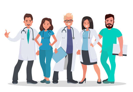 Doctors set. Team of medical workers on a white background. Hospital staff. Medical concept illustration. Vector illustration in flat style.