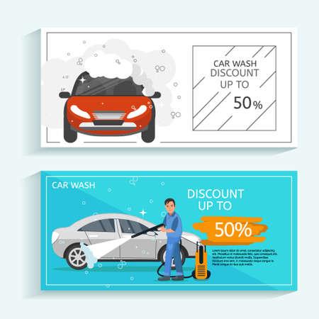 カーウォッシュサービスのチラシコンセプトを割引します。男は車ベクトルイラストを洗います。赤いスポーツカーと洗車コンセプト。