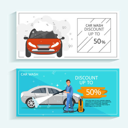 Discount offer flyer concept for car wash service. Man washing car vector illustration. Car wash concept with red sport car.