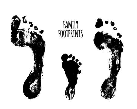 Family footprints illustration. Watercolor family footprints of mom, dad, and child. Vectores