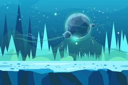 ゲームのためのシームレスな漫画のベクトル風景。惑星付き氷の砂漠コンセプトイラスト。デザイン用のベクターイラストレーション。視視院効果