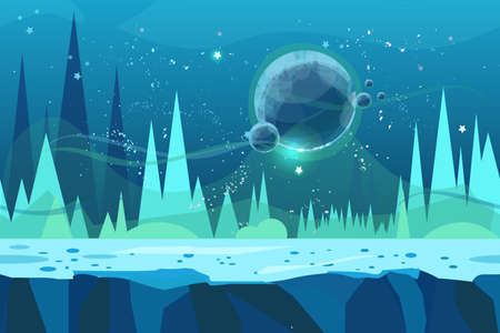 Seamless cartoon vector landscape for game. Ice desert concept illustration with planet. Vector illustration for your design.Ready for parallax effect. Stok Fotoğraf - 92841778