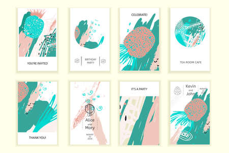 ユニバーサル抽象ポスターセット。創造的な幾何学的なカード。結婚式、記念日、誕生日、バレンティンの日、パーティーの招待状、ウェブ、印刷  イラスト・ベクター素材