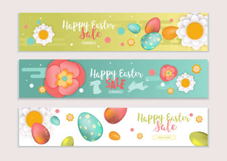 Happy Easter Horizontal Banners Set. Vector Illustration. Holiday Brochure Design, Greeting Cards, Easter Creative Concept, Gift Voucher, Invitation. Easter Eggs, Bunnys and Flowers