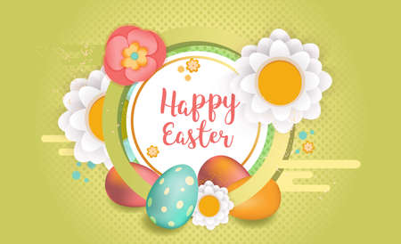 Happy Easter horizontal banner. Flyer design frame decorated with flowers and easter eggs. Vector illustration. Colorful Easter sale banner template with text, eggs and flowers.