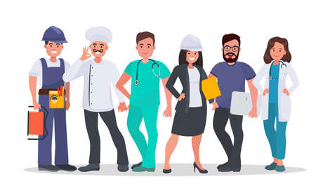 Set of people of different occupations Doctor, Nurse, IT-specialist, Engineer, Chef, Electrician. World's most in demand proffesions. Labor day concept vector illustration. Vectores