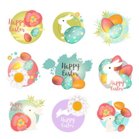 イースターのアイコンとスタンプのセット。バニー、卵と花とハッピーイースターのアイコン。イースターホリデーのお祝いコンセプトイラスト。