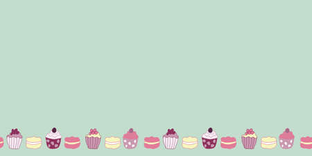 Vector Green Garden Tea Party Cake Border Pattern Background. Perfect for fabric, wallpaper and scrapbooking projects.