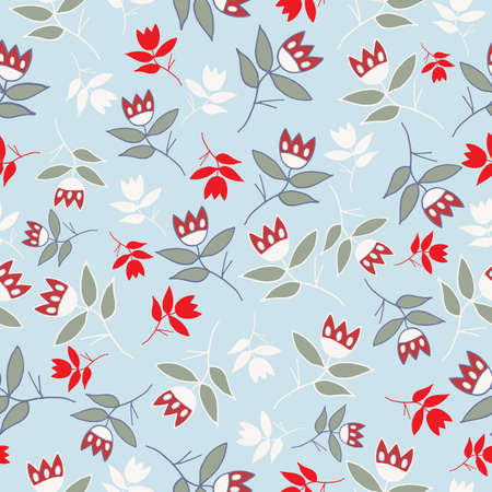 Vector Sky Blue winter folk florals seamless pattern background. Perfect for fabric, textiles, scrapbooking and wallpaper projects.