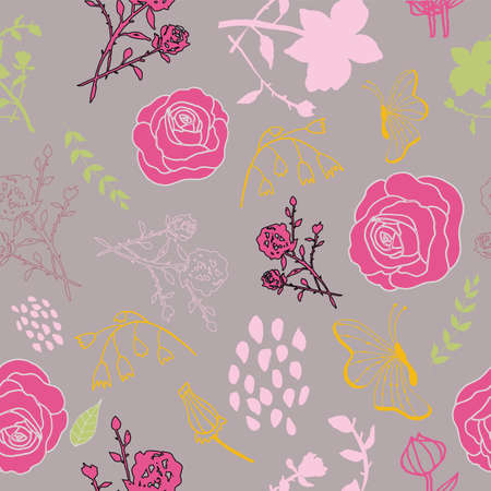 Mixed florals on muted pink background pattern design. Perfect for fabric, wallpaper, stationery and scrapbooking projects Stock Photo