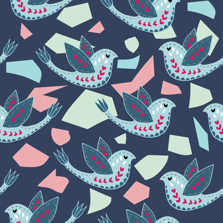 Scandinavian Birdie Terrazzo Pattern Design. Perfect for fabric, wallpaper, stationery and scrapbooking projects and other crafts and digital work