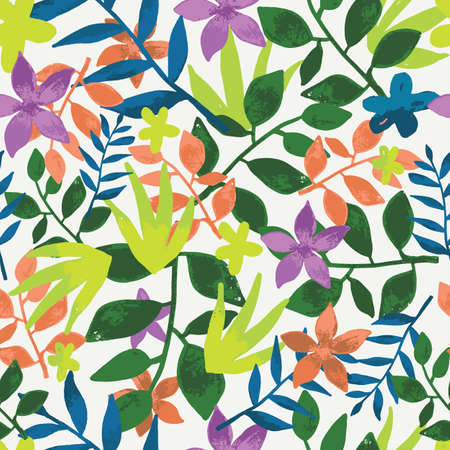 Seamless tropical leaves repeat pattern design. Perfect for fabric, wallpaper, stationery and scrapbooking projects and other crafts and digital work