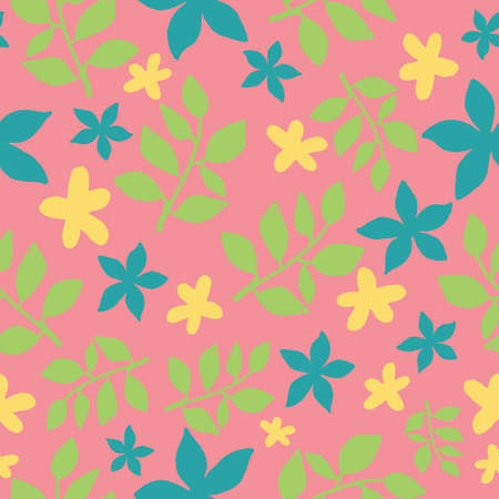 Seamless tropical leaves repeat pattern design on pink background. Perfect for fabric, wallpaper, stationery and scrapbooking projects and other crafts and digital work Ilustração