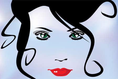 ブルー バイオレット背景に透明な女性の美しい顔