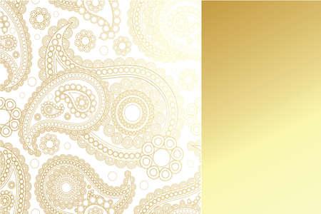 コピー スペースと黄金のパネルと黄金のペイズリー柄  イラスト・ベクター素材