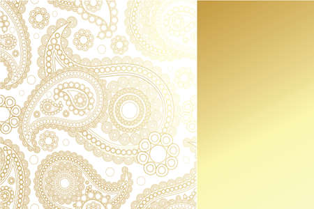 Golden paisley design with golden panel with copy-space