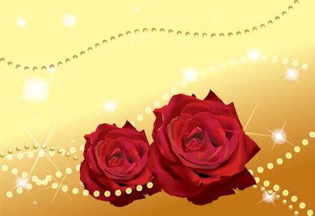 Twee rode rozen voor gouden achtergrond met sterren en perls Stock Illustratie