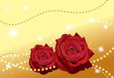 brilliant: Two red roses in front of golden Background with stars and perls