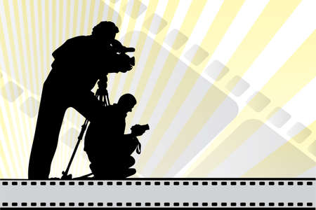 Silhouettes of moviemakers on background with film elements and copy-space