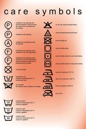 launder: conjunto de vectores de s�mbolo de diversos cuidados para la ropa con la explicaci�n