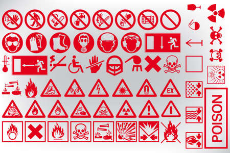 general warning: set of various warning sign vectors