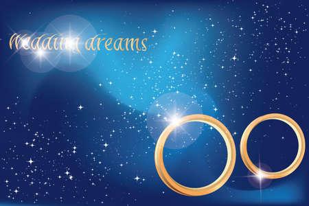 millones: sue�os de boda en el cielo con millones de estrellas y los anillos de boda