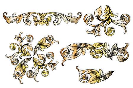 bloemen vintage elementen op wit Stock Illustratie