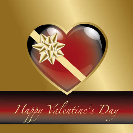 Happy valentines day card with golden ribbon and letters Vector