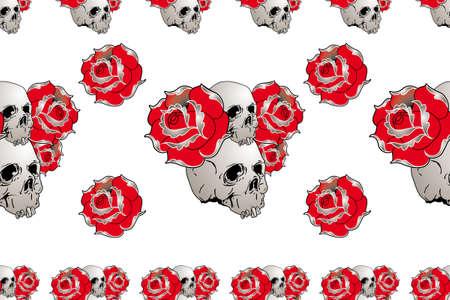 naadloze schedel en roos patroon voor t-shirt stof