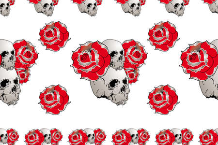 seamless skull and rose pattern for t-shirt fabric Vector