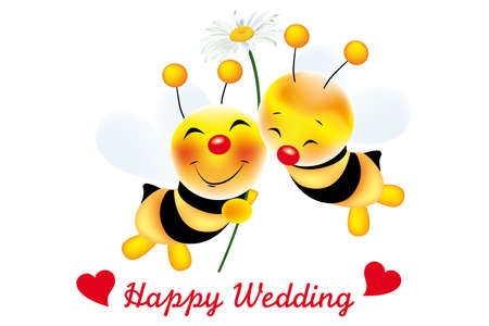two cute bees in love with daisy, hearts and text