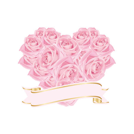 Heart of beautiful roses combined with ribbon with place for text