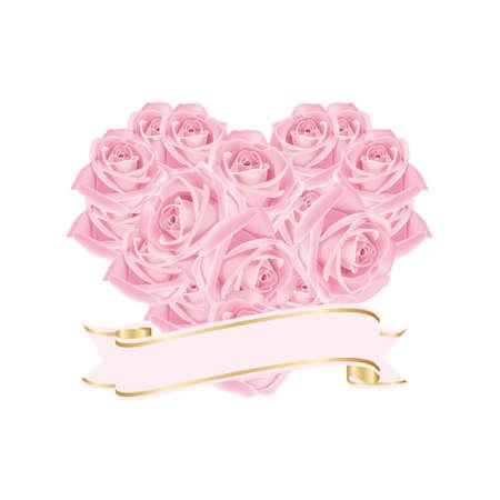 Hart van de mooie rozen gecombineerd met lint met plaats voor tekst