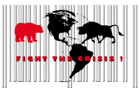 bull and bear - fight the crisis Stock Vector - 9577975