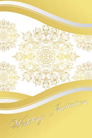 golden paisley wedding invitation - vector illustration Stock Vector - 9577965