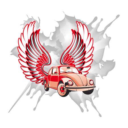 escarabajo: coche retro con alas Vectores