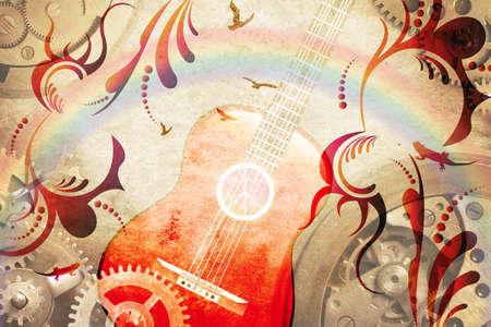 レトロなギターの抽象的な背景