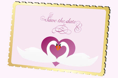 old paper texture: Wedding announcement card with swan and heart