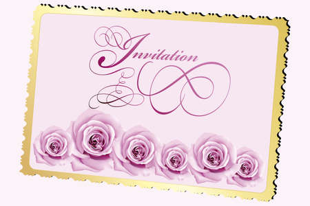 Invitation card with roses and calligraphic elements Stock Illustratie