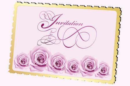 Uitnodigingskaart met rozen en kalligrafische elementen