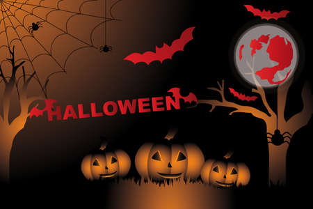 Halloween card with bats, blood moon, spiders and pumpkins Vector