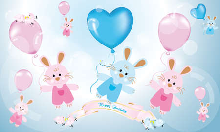 Birthday Card For Children Or Babys With Cute Rabbits Balloons