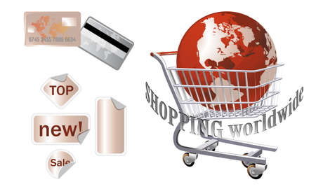 online logo: shopping worldwide - shopping icons, credit card and illustration Illustration
