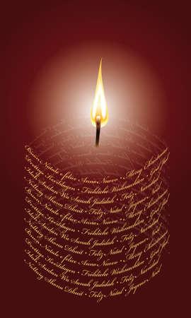 国際のホログラムの形のクリスマスキャンドル  イラスト・ベクター素材
