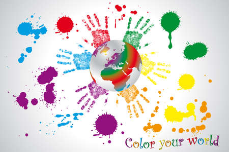 Color your world - globe framed by hands of children in various colors