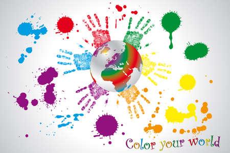 el mundo en tus manos: El mundo - globo enmarcada por manos de los ni�os en varios colores de color