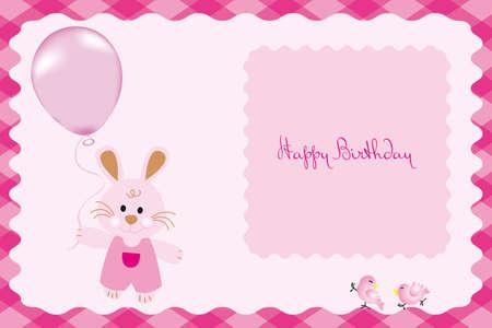 Birthday card with cute bunny Vector