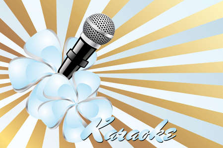 karaoke singer: Karaoke poster template with micro, blue exotic flowers and golden light-blue background
