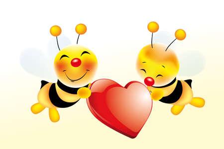 Deux abeilles mignons dans l'amour