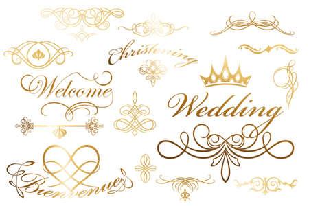 Kalligrafische design elementen en decoratie - nuttige elementen voor lay-outs te versieren